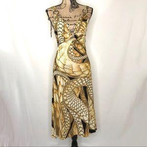 JUST CAVALLI Gold Snake Print Midi Dress 4